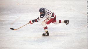 of the U.S. Olympic hockey team, plays in the 1980 Winter Olympics ...