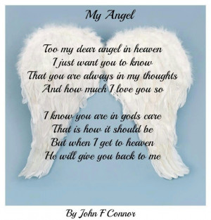 Too My Dear Angel In Heaven I Just Want You To Know That You Are ...