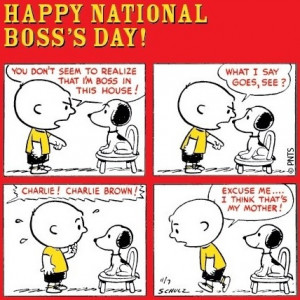 Snoopy Happy National Bosses' Day cartoon via www.Facebook.com/Snoopy