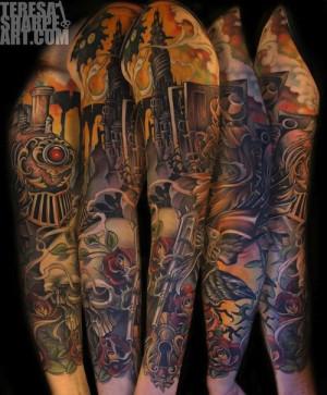 Full Dark Tower sleeve by Teresa Sharpe.