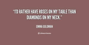 rather have roses on my table than diamonds on my neck.""