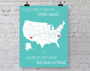 Best Friend Gift - Personalized Art Print - Going Away Gift - Together ...