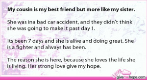 True love - My cousin is my best friend but more like my sister.