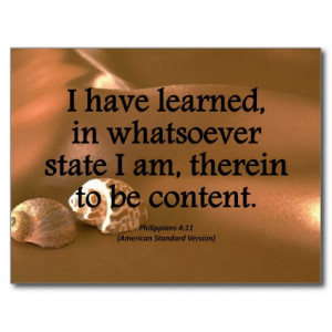 Contentment Philippians 4-11 Condensed Postcards