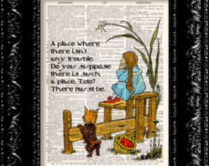 Wizard Of Oz - Dorothy Oz Quote - D ictionary Print Vintage Book Page ...