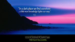 In a dark place we find ourselves ...a little more knowledge lights ...