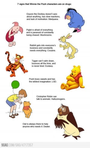 signs that Winnie the Pooh characters are on drugs: