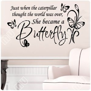 Butterfly Caterpillar.Wall Decal Little Girls Room Nursery Decal Quote ...