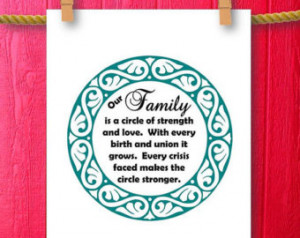 Family Sign Our Family is a Circle Word Art Wall Decor Quotes Family ...