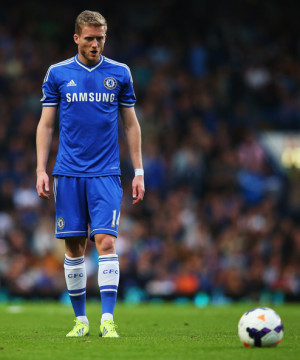 Andre Schurrle Andre Schurrle of Chelsea lines up to take a freekick ...