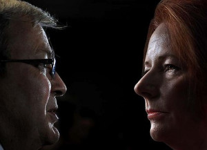 Putting on a unified front... Kevin Rudd and Julia Gillard. Photo ...