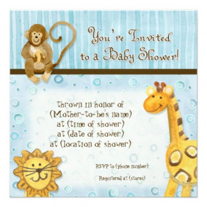 Jungle Babies, Boy Baby Shower Invitation - Blue