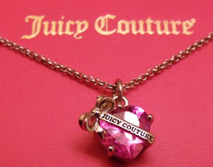 Christmas cute heart pink banner necklace juicy couture