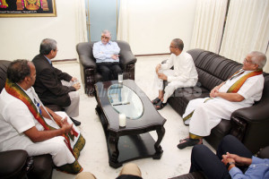 Chief Justice P Sathasivam in a meeting with the officials IE photo