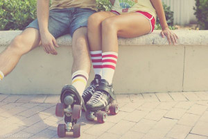Roller skating date fashion cute vintage outdoors couple retro skate