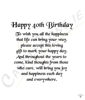 Happy 40th Birthday 8x6 Verse Photo Frame Product Code: 872688