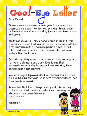 ... an old version of the Good-Bye Letter on TPT, this one is much better