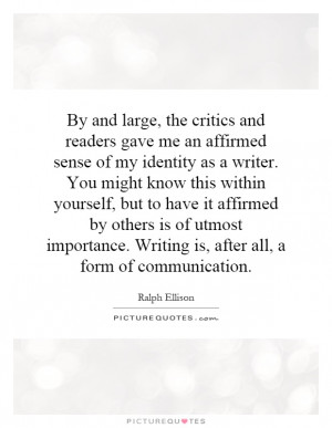 importance. Writing is, after all, a form of communication Picture