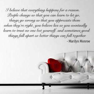 Marilyn Monroe Quote I Believe Wall Sticker Huge Decal Transfer Vinyl ...