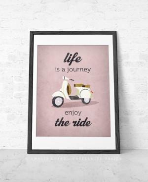 Photo of Quote poster print, Vespa scooter print, bike poster, retro ...