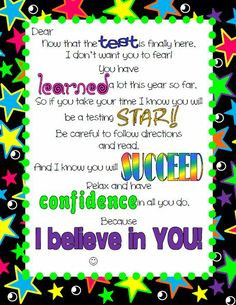 motivational note to help get students ready for their state testing ...