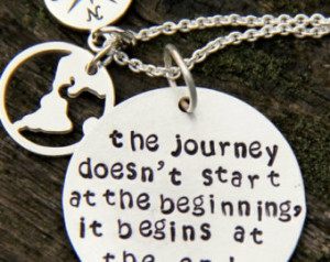 SALE World Necklace, Inspiration Graduation Gift, Journey begins Quote ...