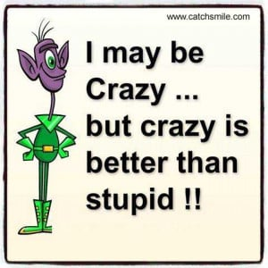 May Be Crazy, but crazy is better than Stupid