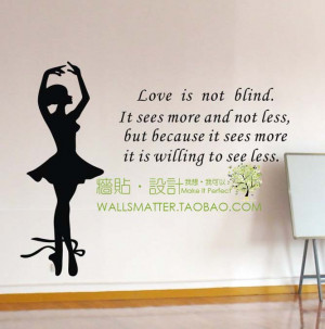 English poem love is .. with beautiful ballet girl vinyl wall art ...