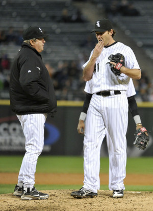 Don Cooper Pitching coach Don Cooper 21 talks with starting pitcher