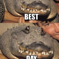 Happy Crocodile In The Arms Of Steve Irwin As They Take a Selfie