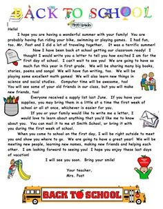Editable Welcome Back to School letter for Students and Parents