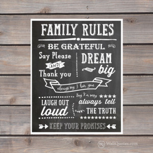 Family Rules Chalk Wall Quotes™ Giclée Art Print