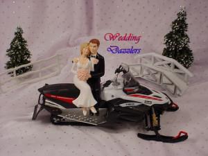 Yamaha Nytro Anniversary Red Snowmobile Winter Wedding Cake Topper