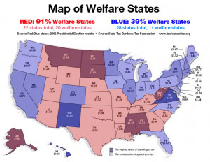 WHOPPING 91% OF RED STATES ARE WELFARE STATES!!!!