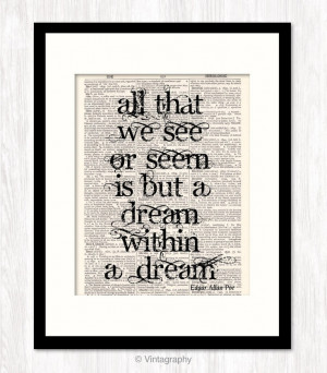 Edgar Allan Poe 11x14 inch DREAM QUOTE PRINT Poster Typographic Art ...