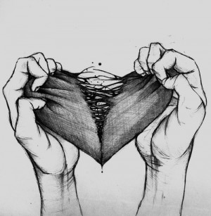 ... art Black and White sad Cool creepy heart depressing Broken heart
