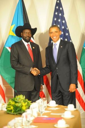 Salva Kiir Mayardit U S President Barack Obama meets with South Sudan