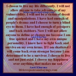 ... enough of people's drama and I choose to turn a blind eye to them. I