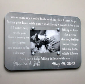 Metal Wedding Song Frame - Engraved Custom First Dance Picture Frame ...