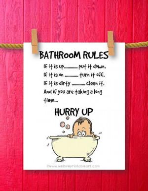 Funny Bathroom Art, Bathroom Art Prints, Bathroom Rules, Kids Bathroom ...