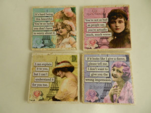 Funny Sarcastic Retro Women's Quotes 1950's Stone Drink Coasters ...