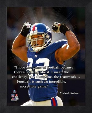 New York Giants Michael Strahan Framed Pro Quote