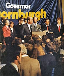 THORNBURGH FAMILY AND JAY WALDMAN ELECTION NIGHT, NOVEMBER 2, 1982