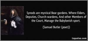 Synods are mystical Bear-gardens. Where Elders, Deputies, Church ...