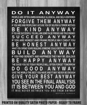 Do It Anyway Mother Teresa Quote Inspirational Subway Sign Print ...