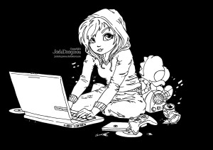 Cute Geek - Lineart by JadeDragonne