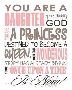 Princess Print- Daughter of God | Scriptures and Spiritual Messages ...