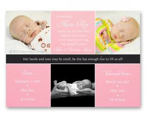 Preemie Birth Announcement, Welcome Home, 3 Photos for Baby Girl - a ...