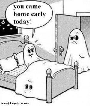Funny Ghost Sheet Marital Affair Cartoon Picture Image Joke