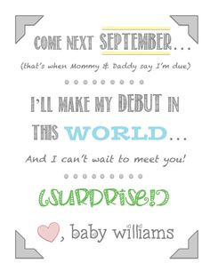 Pregnancy Announcement print - Pregnancy Surprise - new baby gift on ...